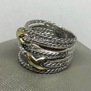 David Yurman Wide Sterling Silver Crossover Ring